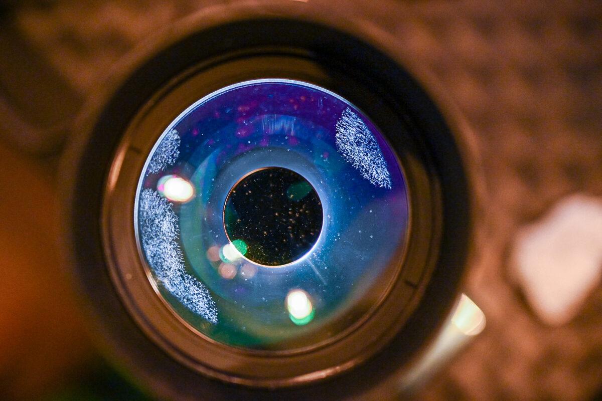 Glaspilz auf Spiegelobjektiv Maksutov