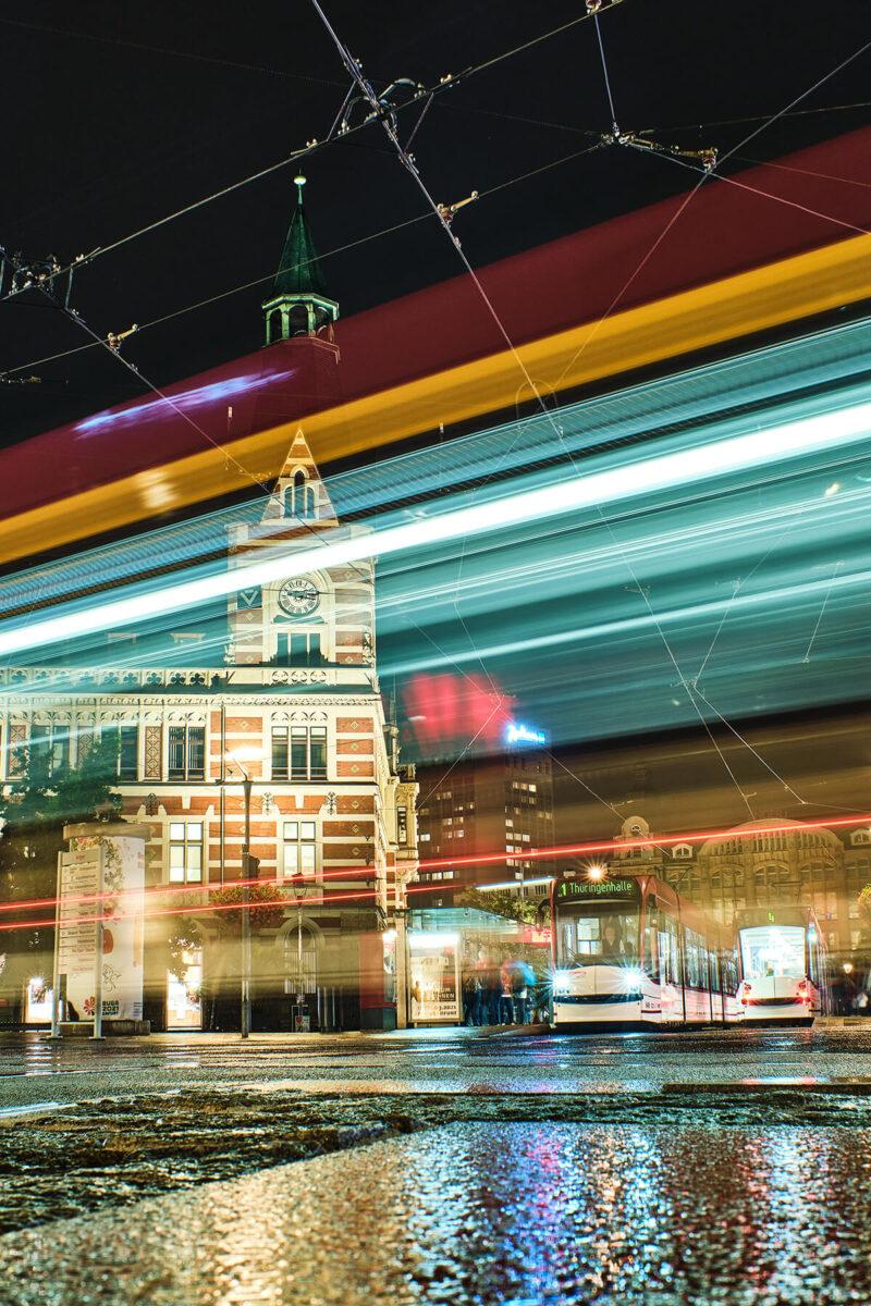 Straßenbahn Langzeitbelichtung in Erfurt