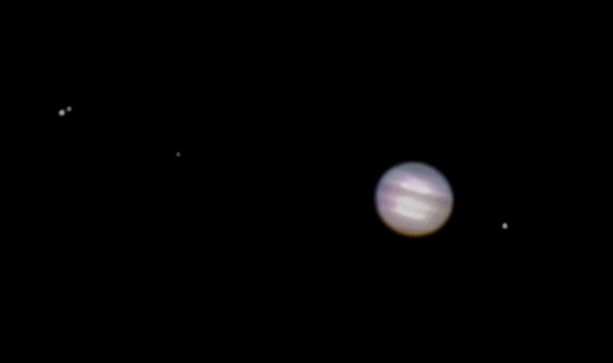 Jupiter und seine Monde durch die Russentonne beobachtet.